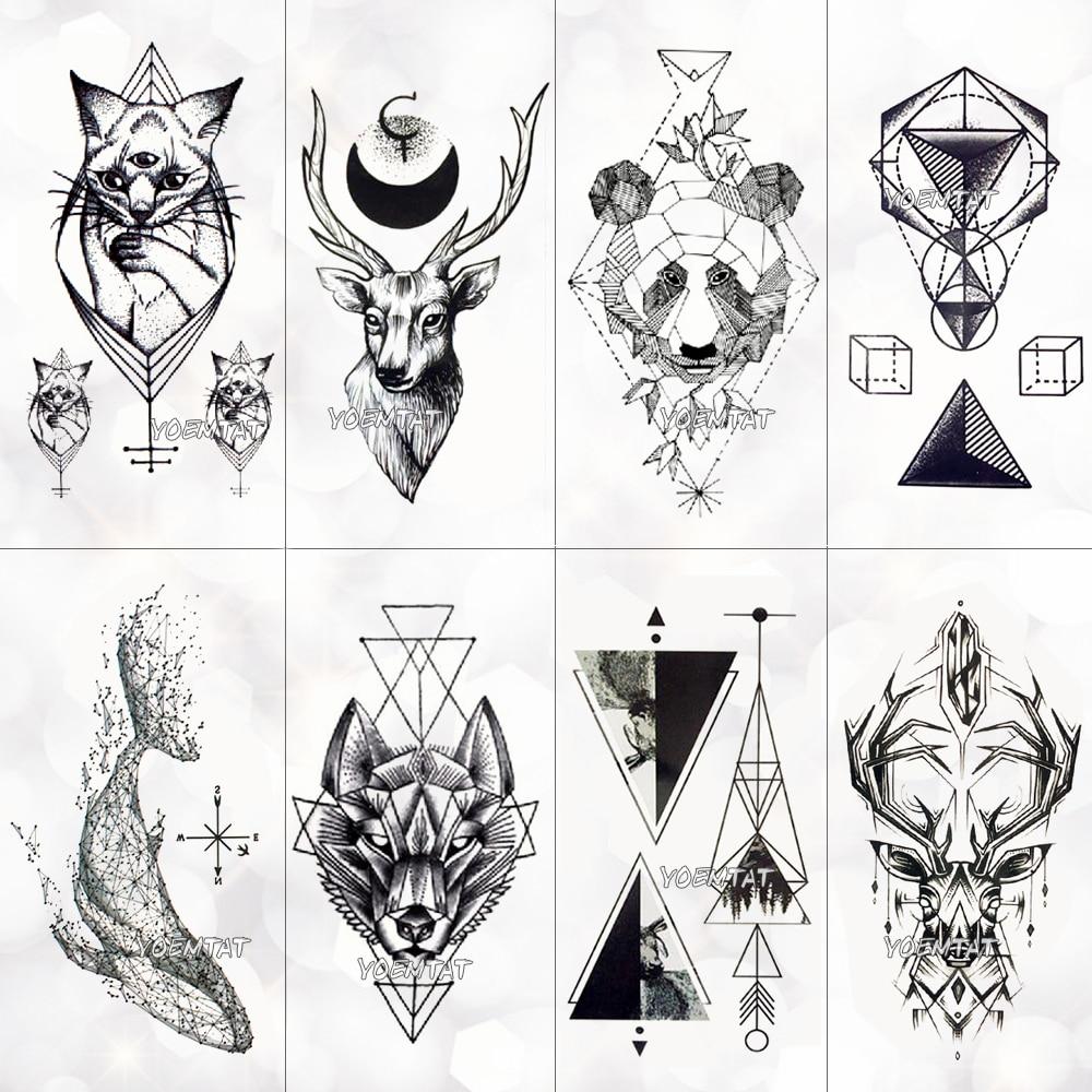 Tatuajes Temporales Pequenos De Lineas Geometricas Tipo Calcomania
